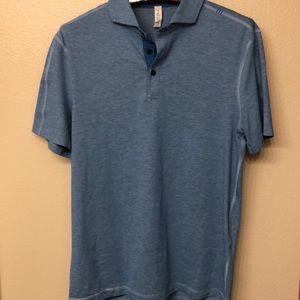 lululemon mens polo shirt size M polyester blue